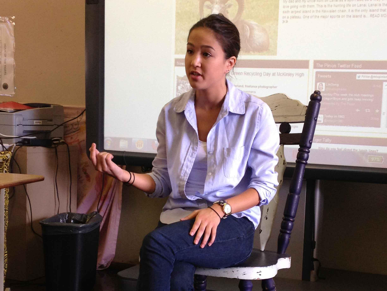 Civil Beat education reporter Alia Wong speaks to The Pinion staff.