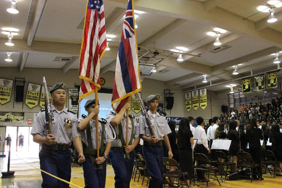 The+MHS+Hall+of+Honor+Assembly+kicks+off+with+the+presentation+of+colors+by+a+full+male+group+of+JROTC+cadets.+In+the+past%2C+a+group+of+all+female+JROTC+cadets+would+do+the+presentation+of+colors.+