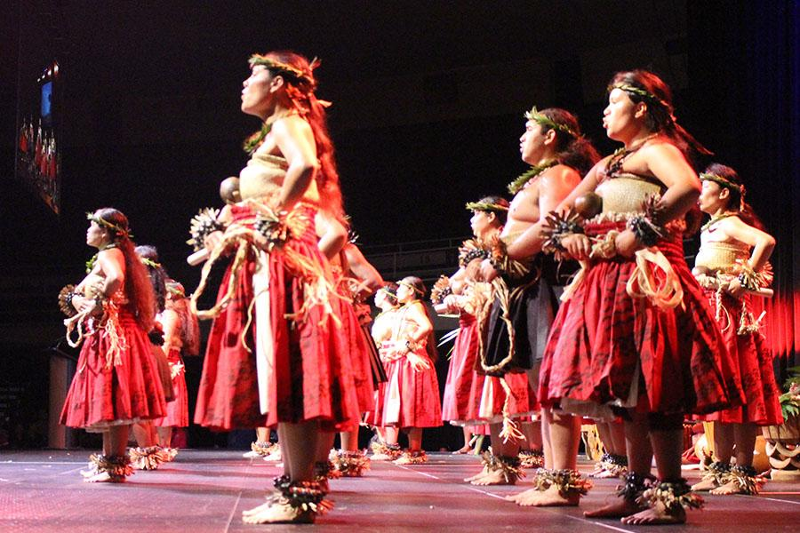 Hula dancers end the opening ceremony with a performance.