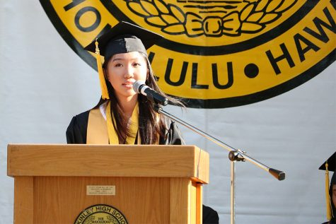 McKinley/Academic honor graduate Josephine Kaohi gave a speech on the past.