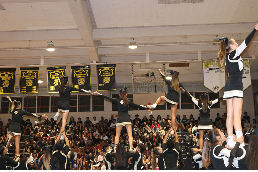 The+MHS+cheerleaders+perform+a+cheer+routine+at+the+Homecoming+Assembly.