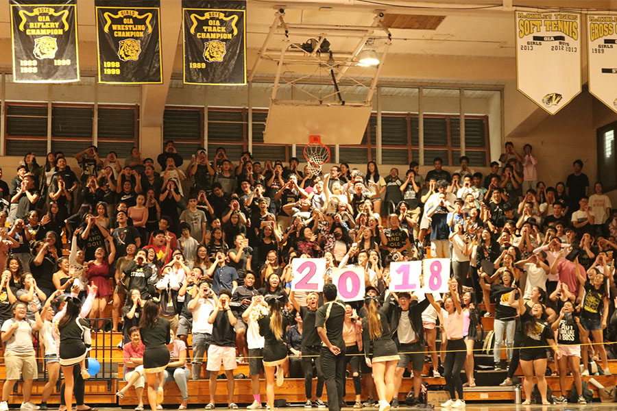 The+class+of+2018+won+the+spirit+challenge+at+the+Homecoming+Assembly.