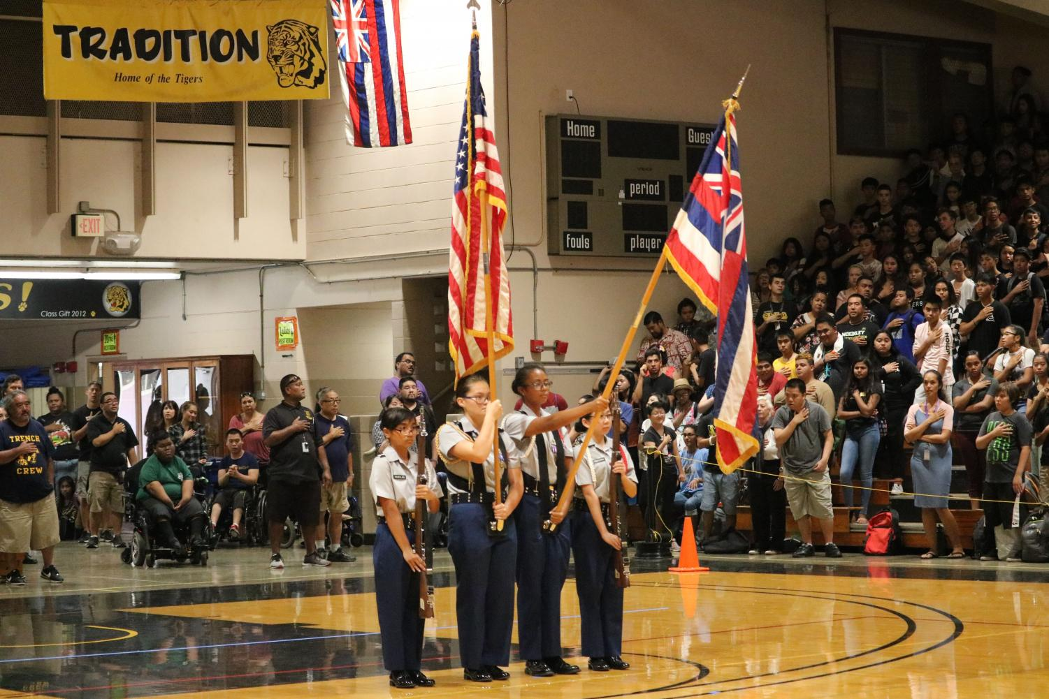 The+JROTC+Color+Guard+started+off+the+assembly+with+The+Star+Spangled+Banner+and+Hawaii+Ponoi%2C+accompanied+by+the+McKinley+Band.%0Aphoto+by+Sabrina+Williams
