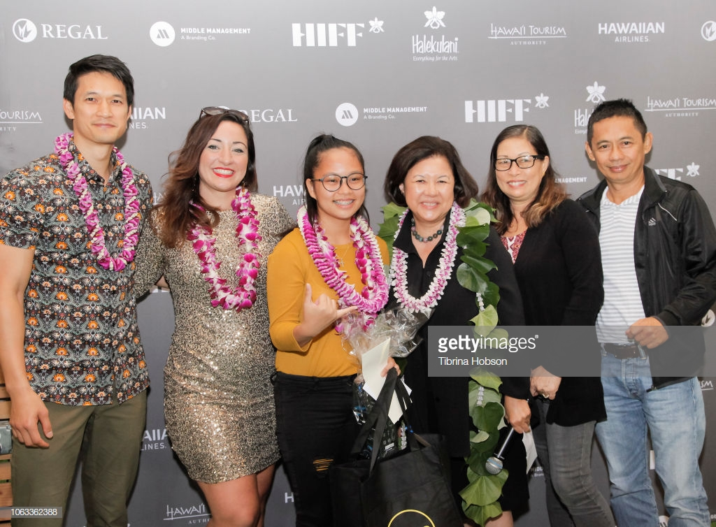 HONOLULU, HI - NOVEMBER 17:  (L-R) Harry Shum Jr., Beckie Stocchetti, Magnolia Basoc, Magnolia Basoc, Magnolia Basoc; Harry Shum Jr.; Beckie Stocchetti, Irene Hirano Inouye and Guests attend the DKII Student Film Initiative + Future Filmmakers Luncheon with Harry Shum, Jr. at the 38th annual Hawaii International Film Festival presented by Halekulani, at the Waiwai Collective on November 17, 2018 in Honolulu, Hawaii.  (Photo by Tibrina Hobson/Getty Images)