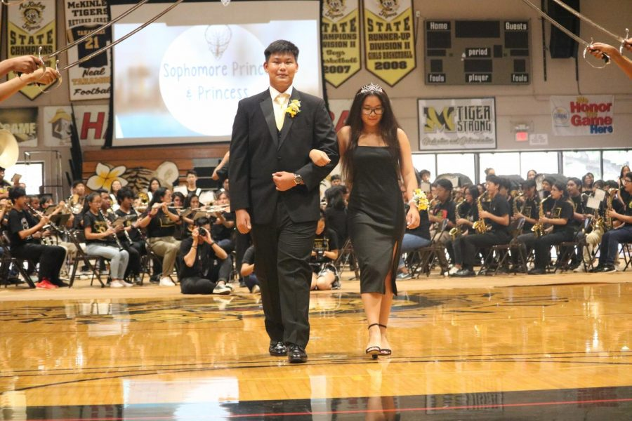Sophomore Prince Mark Bonilla walked Princess Syan Myril Lagaras down the length of the gym.