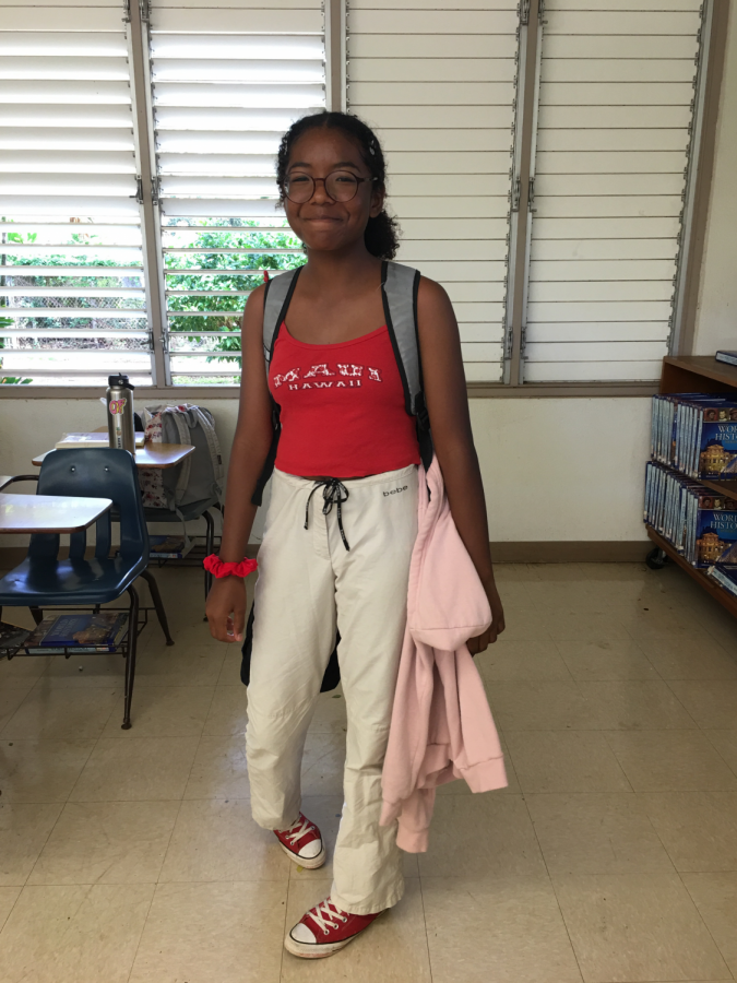 Freshman Shayna Jackson said she dressed up today because it seemed like a cool day, 2000's trends are nice.
