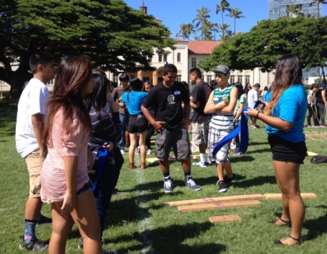 Samantha Cadiente explains concept of Lava Walk Activity to her mentees.