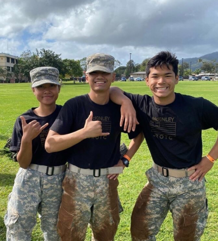 From Left - (Status of SY 2019-20) senior Jianne Miles, sophomore Eugene Asis, freshman Bruce Sipelii mug for the camera after getting dirty during 2020 Warrior Recon Challenge before the pandemic worsened.